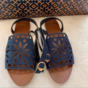 New TORY BURCH May flat Lancaster suede sandals 10